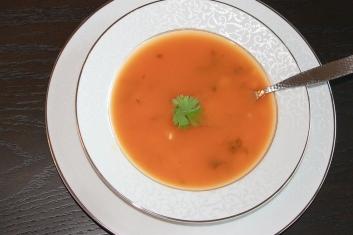 Lemongrass tomato broth with Orzo