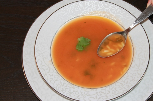 Tomato Lemongrass Soup with Orzo