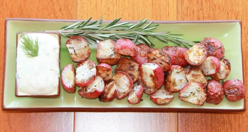 Roasted Radishes with Lemon Dill Yogurt Dip