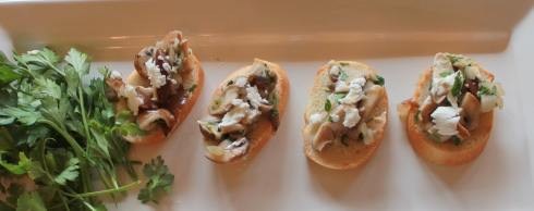 Wild mushroom and goat cheese tartines