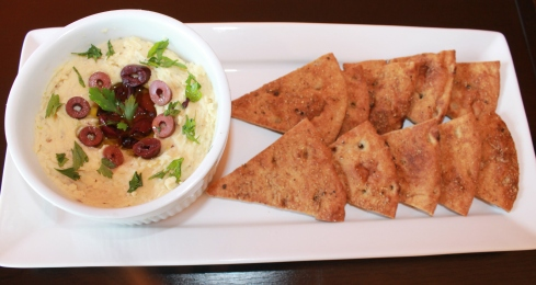 Lima Bean Hummus with Spiced Pita Chips