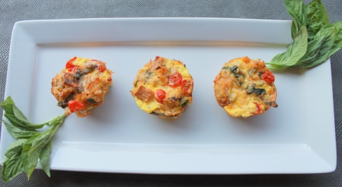 Mini Tomato Basil Bread Pudding